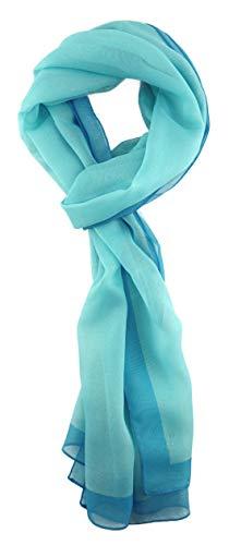 TigerTie Pañuelo de gasa para mujer en un solo color – Tamaño de la toalla 160 cm x 36 cm – Fabricado en Italia Turquesa Oscuro Turquesa talla única