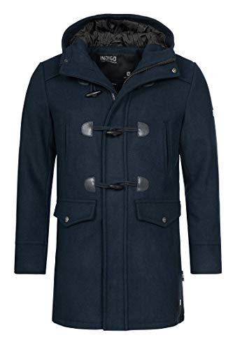 Indicode Herren Liam Dufflecoat mit Stehkragen und Kapuze | moderner Wollmantel mit 5 Taschen Warmer Wintermantel gefütterter Herrenmantel Winter Jacke Mantel für Männer Navy Mix L