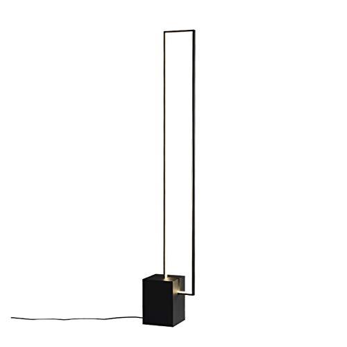 JSJJAJN Interior Nórdico Minimalista LED Lámparas de pie Tricolor lámpara de Metal Negro Control Remoto de Interior de la decoración con el botón del Interruptor lámpara de Piso