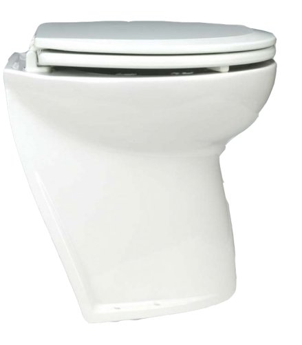 Jabsco Deluxe Flush Marine Head, 17 inch Electric Marine Toilet, Fresh or Raw Water Rinse