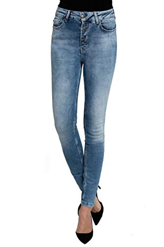 Zhrill Damen Jeanshose Röhrenjeans 5 Pocket Vintage Skinny Fit Leona Button, Farbe:W7389 - Blue, Größe:W31 / L30