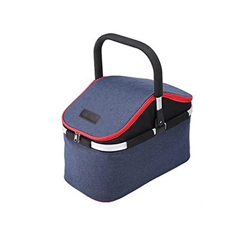 Dzwyc Contenedor de Comida Cesta de Picnic refrigerada aislada al Aire Libre portátil con Canasta de Camping Plegable portátil para al Aire Libre Gran Espacio (Color : Blue, tamaño : 48 * 26 * 34cm)