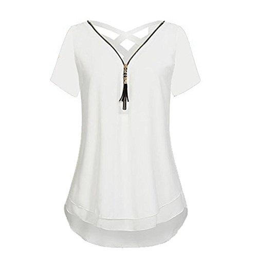 Toimothcn Women Loose Short Sleeve Chiffon Blouse V-Neck Zipper Criss Cross Hem Scoop T Shirts Tops Plus Size(White,L)