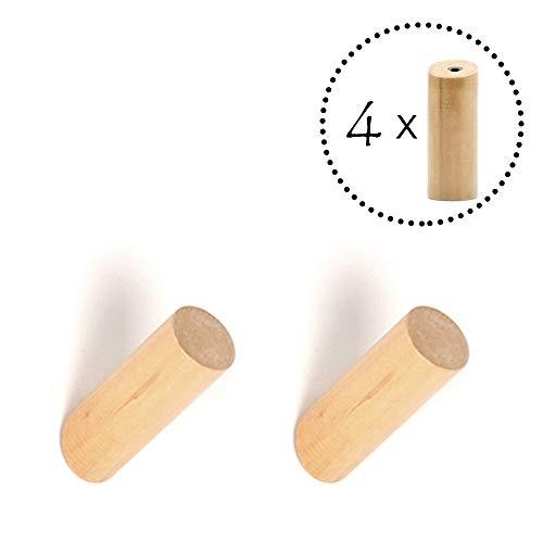 ANZOME Holz Haken, 4 Stück Holz Kleiderhaken, Holzhaken zum Aufhängen von Mänteln, Mützen, Schals, Kleidung und Kopfhörer im Schlafzimmer, Wohnzimmer, Flur (Holz)