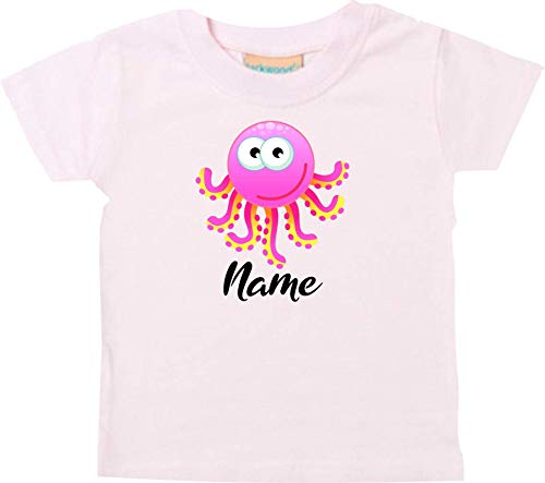 Shirtstown Bébé Kids-T, Pieuvre Oktopusmit Nom Souhaité Animal Animal Nature - Rose, 18-24 Monate