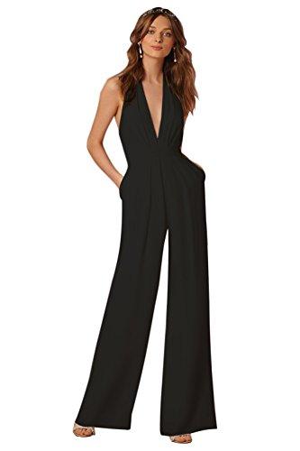 Minetom Femme Élégante Col V Profond sans Manches Dos Nu Jumpsuit Playsuit Rompers Bustier Licou Combinaison Pantalon Large Soiree Noir FR 46
