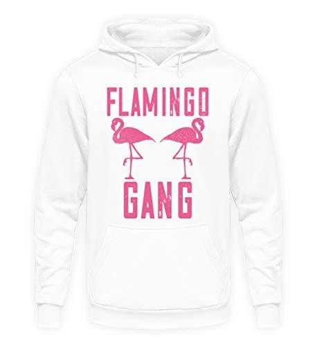 Flamingo Gang T-Shirt Pinker Flamingo Mallorca Gruppen Shirt Party Urlaub Sommer - Unisex Kapuzenpullover Hoodie -L-Arktikweiß