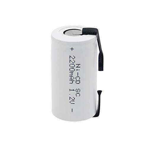 TTCPUYSA Batería del CD del Ni del Sub C/SC De 1.2v 2200mah, Recargable con Las LengüEtas para Las Herramientas EléCtricas De Los Dispositivos PortáTiles 1Pieces