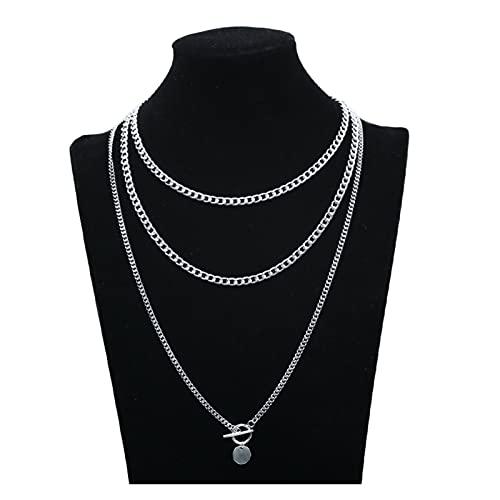 SFQRYP Cadena estética de Acero Inoxidable 2021 Alrededor del Collar Colgante de la Gargantilla del Cuello para Las Mujeres (Metal Color : D OT 2)