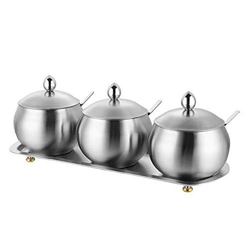 DUDDP Botes para Especias Cocina Acero Inoxidable Especia Crisol con la Base, Condimento Box Set con cucharas de Servir, 3pcs del Tarro de condimentos, de Gran Capacidad, diseño Simple