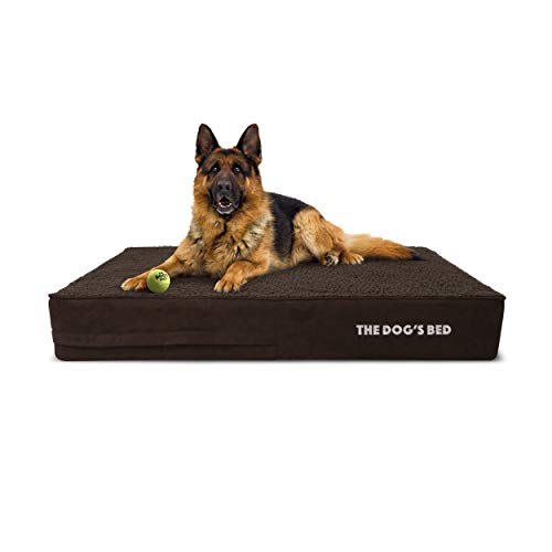 The Dog's Bed Orthopaedic Dog Bed Large Brown Plush 101x64cm, Premium Waterproof Memory Foam Dog...