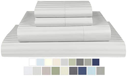 Threadmill Home Linen 600 Thread Count 100% Cotton Sheet Set, 1CM Damask Stripe Silver Twin XL Sheets 3 Piece Set, ELS Cotton Bedsheets, Soft Sateen Weave Fits Mattress Up to 17'' Deep Pocket