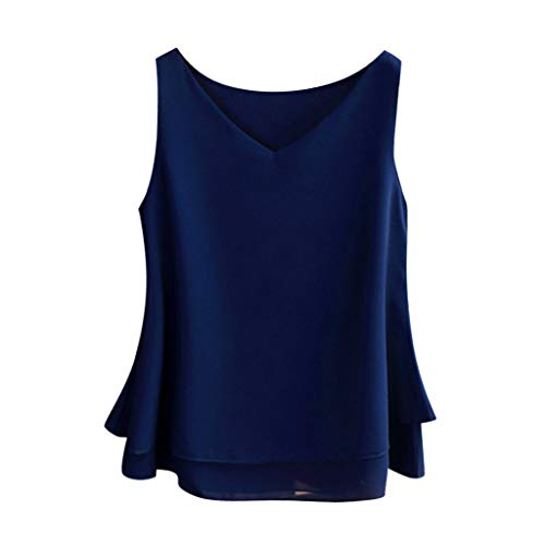 Chaleco de verano para mujer, blusa de gasa sin mangas para mujer, blusa informal con cuello en V, túnica corta para mujer, color azul