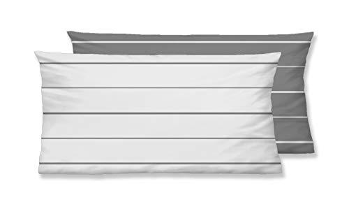 biberna 0636044 Mix & Match Kopfkissenbezug Mako-Baumwoll-Satin 1x 40x80 cm, sturmgrau