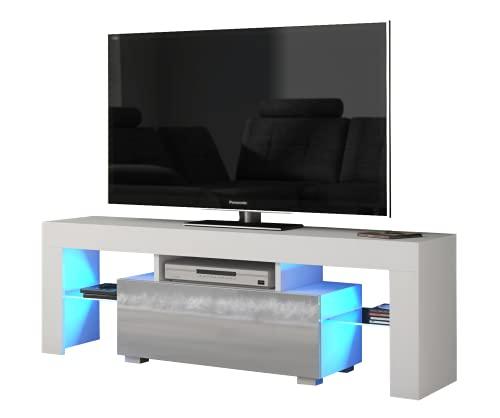 Arbery - Mueble de TV (130 cm, con estructura blanca mate y puertas brillantes y LED), color blanco