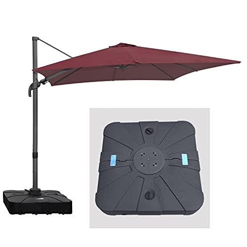 RANSENERS Ampelschirme Sonnenschirm Gartenschirm mit großem Schirmständer, 270 x 270cm, Gestell Aluminium/Stahl, Bespannung Polyester mit UV 80+ Schutz, 360° Drehbar, 4 Stufen einstellbar