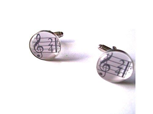 Musique Boutons de manchette avec clé de sol sous verre cabochon dômes en velours Boîte à boutons de manchette