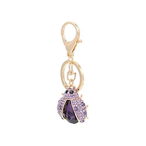 NOLITOY Llavero de mariquita con diamantes de imitación, llavero con llave de Navidad, llavero de cristal, para Navidad, fiestas, regalos, bolsas de regalo (morado)