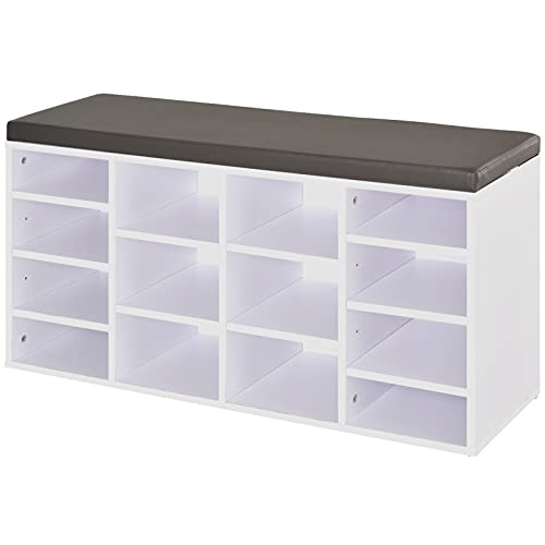 HOMCOM Multi-Storage Shoe Rack w/ 14 Compartments Cushion Moving Shelves Solid Frame Foot Pads Home Office Tidy Organisation Boots Trainers White