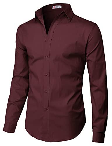 H2H Mens Casual Slim Fit Button Down Spandex Premium Long Sleeve Shirts Wine US 2XL/Asia 3XL (CMTSTL0134)