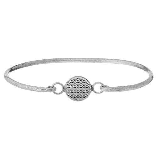 81stgeneration Frauen Gebürstetes .925 Sterling Silber Blume des Lebens Armband Armreif