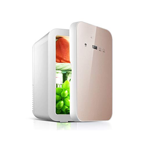 LAIDEPA Mini Nevera Portátil Compacta con Pantalla Digital de 8 litros para Coche,Pequeño Refrigerador de Regalo para Cosméticos, Leche Materna, Refrigeración de Leche,Oro