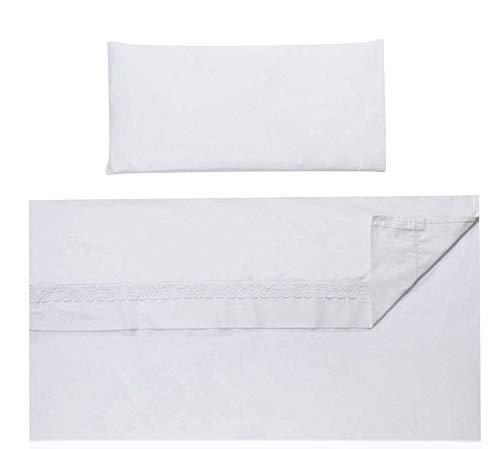 Vizaro - Tríptico Juego de Sábanas (3 Piezas) MiniCuna 50x80cm - 100% Algodón - Hecho UE, OekoTex - Bordado Blanco