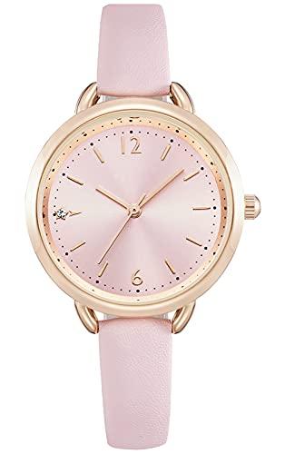 KDM Uhren Damen,Mode Diamant Armbanduhr für Damen Mädchen wasserdichte Analog Quarz Uhr mit Leder Armband