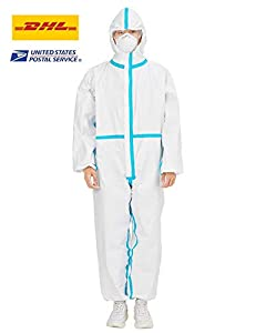 Disposable Protective Coveralls Full Body Isolation Suit with Hood Elastic Wrist Protective Clothing Dust-proof Coverall Suit