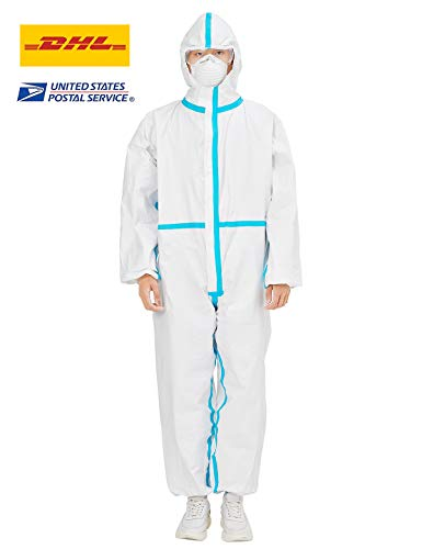 Protective Overall Suit Disposable One-Piece Tyvek Suit Protective Clothing Anti-Dust Protection Suits with Hood Elastic Wrist Ankles XS-XXL