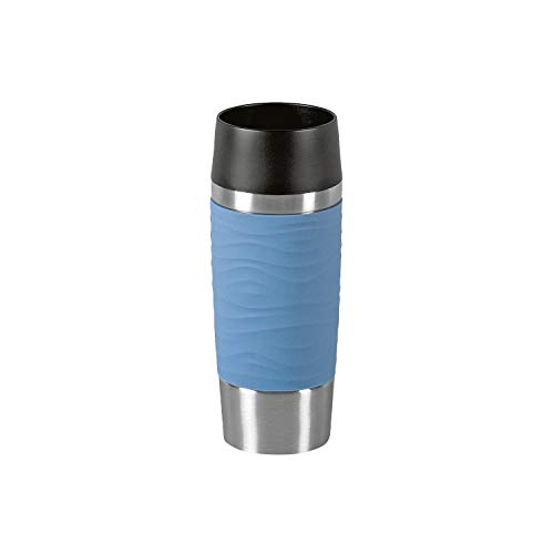 Emsa N2010700 Travel Mug Waves Isolierbecher, Thermobecher, 0,36 L, Puder-Blau