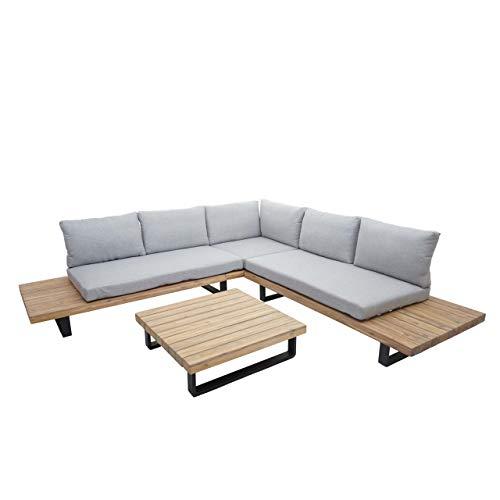 Mendler Garten-Garnitur HWC-H54, Garnitur Sitzgruppe Lounge-Set Sofa, Spun Poly Akazie Holz - Kissen hellgrau