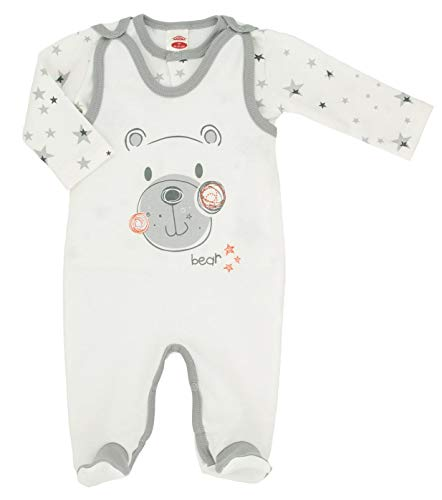 Makoma Baby Erstausstattung Unisex Strampler-Set mit Langarmshirt -Teddy-, Weiß, 56