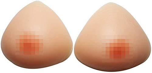 Sotica Silikon Brüste Formen Dreieck Form Brust Enhancer Lebensechte Gefälschte Brust für Crossdresser Transgender Mastektomie, M:600g B cup(1.3lb/Paar)-34D/36C/38B/40A, Beige