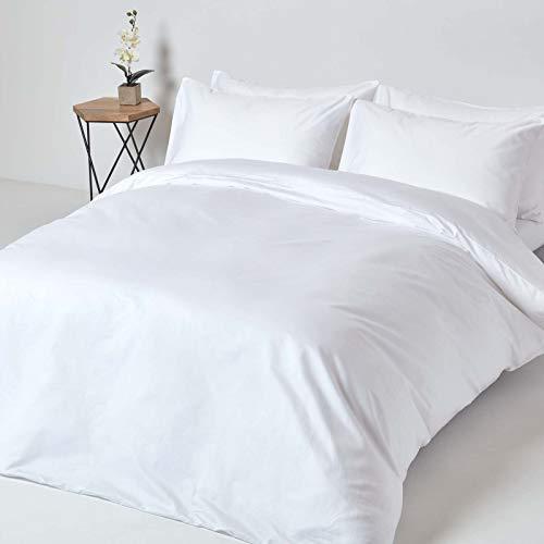 HOMESCAPES 2-teiliges Bettwäsche-Set - 100% Reine Baumwolle, Fadendichte 1000, Perkal-Bettwäsche - Bettbezug 135 x 200 cm mit Kissenbezug 48 x 74 cm, weiß