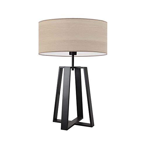 THOR ECO - Lámpara de mesa con pantalla de roble blanqueado, marco negro