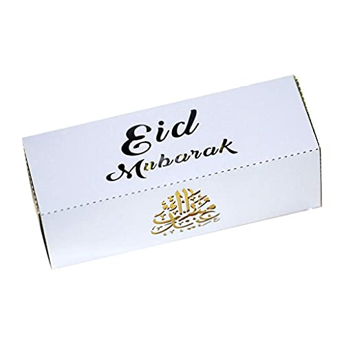 LLKK Eid Mubarak - Cajas de chocolate para tartas (50 unidades), diseño de ramadán musulmán Kareem hueco, rectangular, para fiestas islámicas, color azul