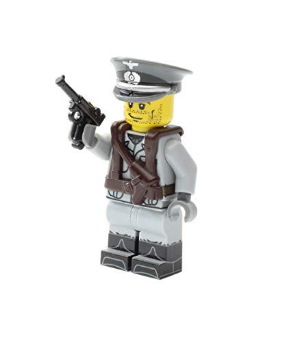 Deutscher Offizier | Ausgerüstet mit BrickArms Luger, Weste und Mütze | Bedruckte Custom Figur
