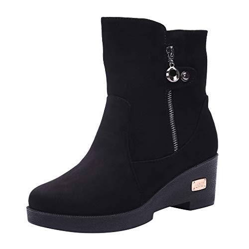 SOMESUN Stiefeletten Damen Schlupfstiefel Warm Gefüttert Wedge Stiefel Outdoor Winterstiefel Boots High Heels Stiefel Kurzschaft Stiefel 6 cm
