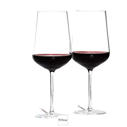 Blue Chilli Design Juego de 2 copas de vino tinto en caja de regalo.