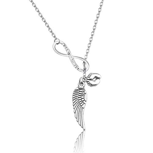 BEKECH Baby Memorial Necklace Infinity and Angel Wing Baby Footprint Lariat Y Necklace Miscarriage Jewelry Infant Loss Memorial Gift (Silver)