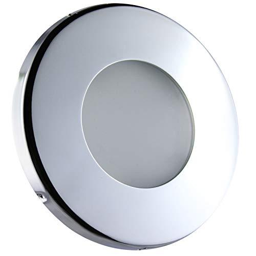 LED Einbaustrahler Feuchtraum Nassraum Einbauleuchte Downlights Einbauspot Chrom GU10-230V (IP44-Rund-14703) (Warmweiß)