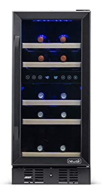 NewAir Wine Cooler Built in Refrigerator with 29 Bottle Capacity Dual Zone Fridge, NWC029BS00, Black Stainless Steel