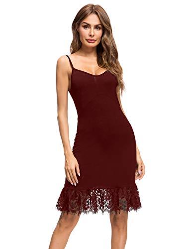 Dizzlle Damen Sommer Verstellbare Baumwolle Spaghettiträger Rüschen Camisole Kleid Slip Spitze Extender - Rot - Small