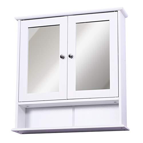 Homcom Armoire Murale étagère Salle de Bain 56L x 13l x 58H cm Double Porte Miroir étagère réglable MDF Blanc