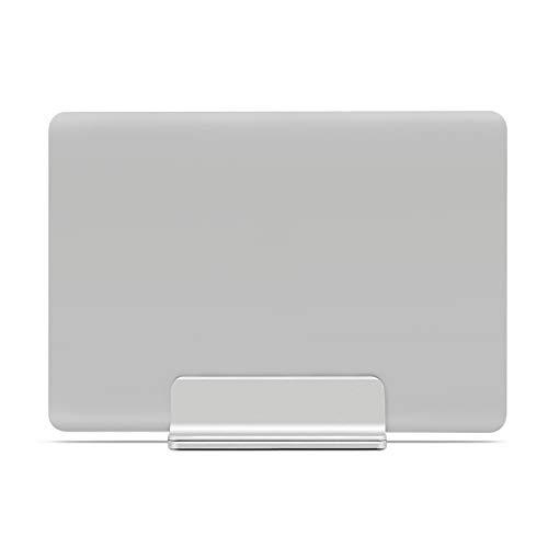 SUNJULY verticale laptopstandaard, aluminiumlegering verticale laptopstandaard, dubbele bureaustandaard met verstelbare dock past op alle Macbook/Oppervlakte/pk/Dell/boek