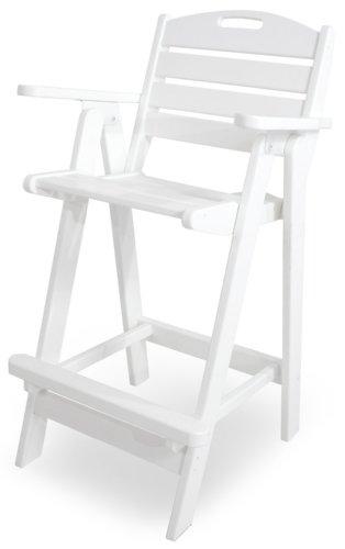 POLYWOOD NCB46WH Nautical Bar Chair, White