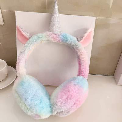 LLDKA Oído del Unicornio se tapan los oídos de Invierno Caliente Lindo Unicornio Cubierta Adultos niños Orejeras de protección para los oídos Plegable,Rosado