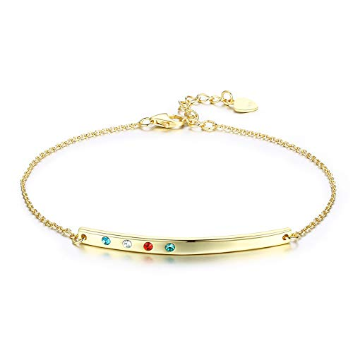 Nykkola - Pulsera de cadena de plata de ley 925 bañada en oro de 18 quilates con corte de diamante para mujer y niña