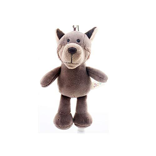 THQC Lindo Dibujos Animados Animal Peluche Llavero 13cm-15cm Tortuga Elefante Monkey Tigre león león hipopótamo Mapache Bear Conejo Lobo Pinguin Bulldog (Color : Wolf)